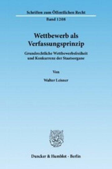 eBook Wettbewerb als Verfassungsprinzip. Cover