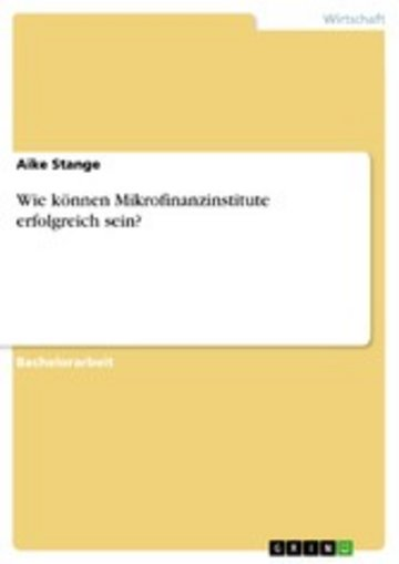 eBook Wie können Mikrofinanzinstitute erfolgreich sein? Cover