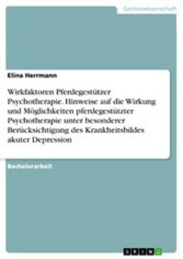 eBook Wirkfaktoren Pferdegestützer Psychotherapie. Hinweise auf die Wirkung und Möglichkeiten pferdegestützter Psychotherapie unter besonderer Berücksichtigung des Krankheitsbildes akuter Depression Cover
