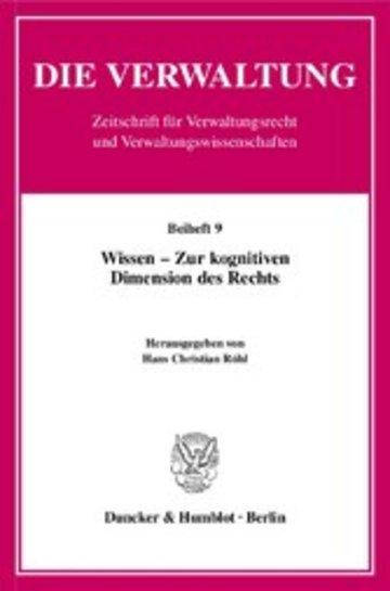 eBook Wissen - Zur kognitiven Dimension des Rechts. Cover