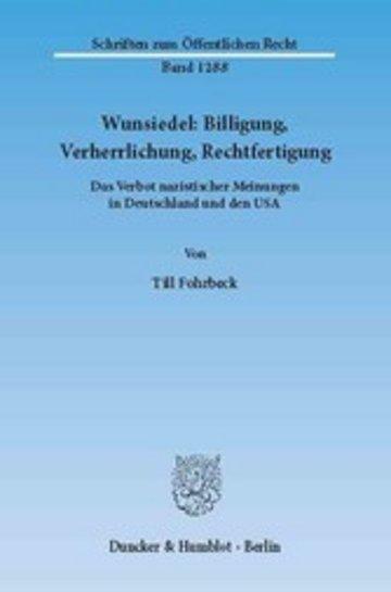 eBook Wunsiedel: Billigung, Verherrlichung, Rechtfertigung. Cover