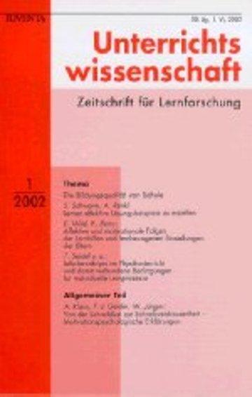 Unterrichtswissenschaft Zeitschrift für Lernforschung