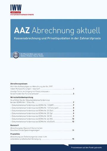 AAZ Abrechnung aktuell (Zahnärzte)