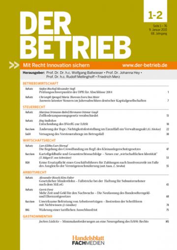 Der Betrieb Fachzeitschrift Juristische Fachliteratur