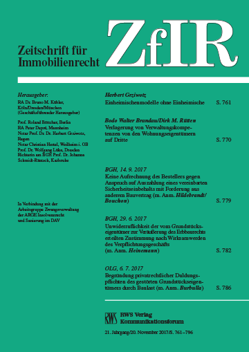 ZfIR - Zeitschrift für Immobilienrecht
