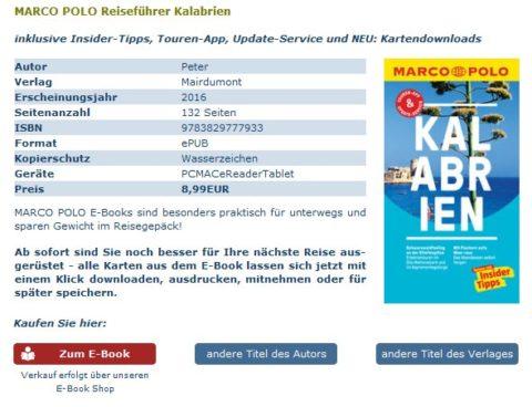 Screenshot mit Kaufbutton für das eBook Kalabrien