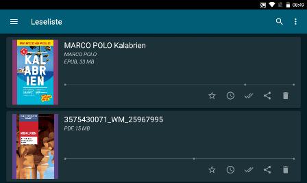 Screenshot Übersicht der gespeicherten eBooks