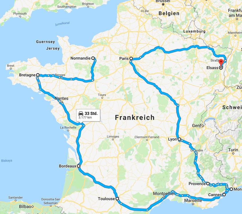 Route durch Frankreich auf der Landkarte