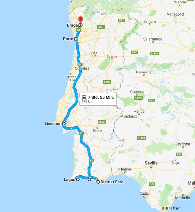 Route von Braga über Port, Lissabon an die wundervolle Algarve