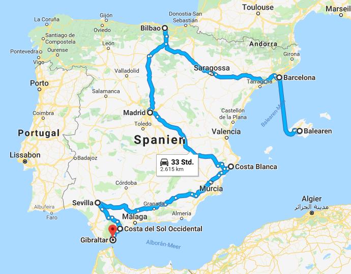 Route von Gibraltar über die Costa Blanca, Madrid, Bilbao, Barcelona und ein Sprung auf die Balearen